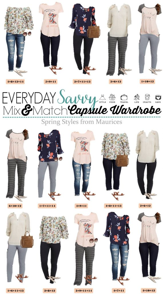 Spring outfits from Maurices Clothing - 15 mix and match outfits