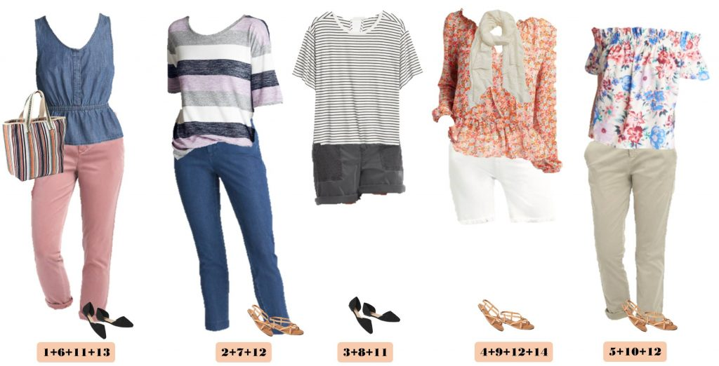 5 spring outfits from Gap - pink pants, floral tops, striped tops