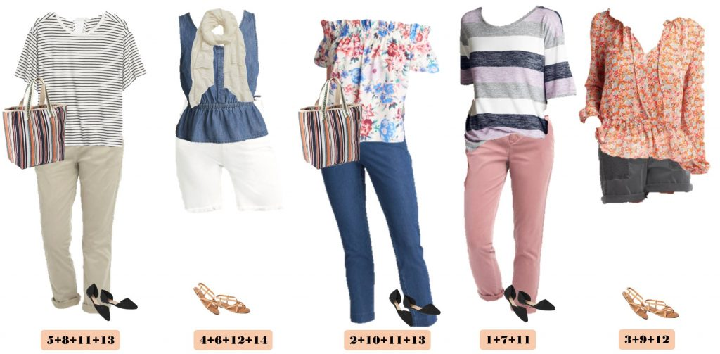 Spring cute outfits from Gap - off the shoulder floral top, pink chinos, cute shorts