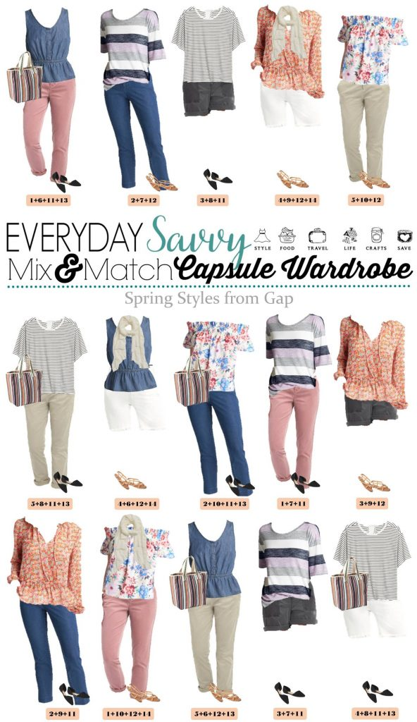 gap spring outfits that mix and match