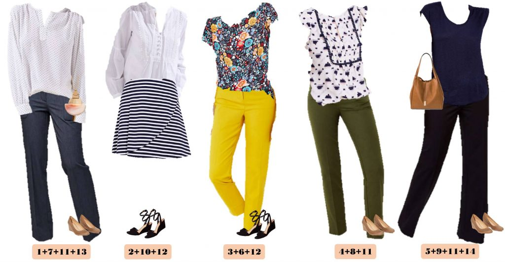 floral spring tops for office environment, business casual pants and skirts