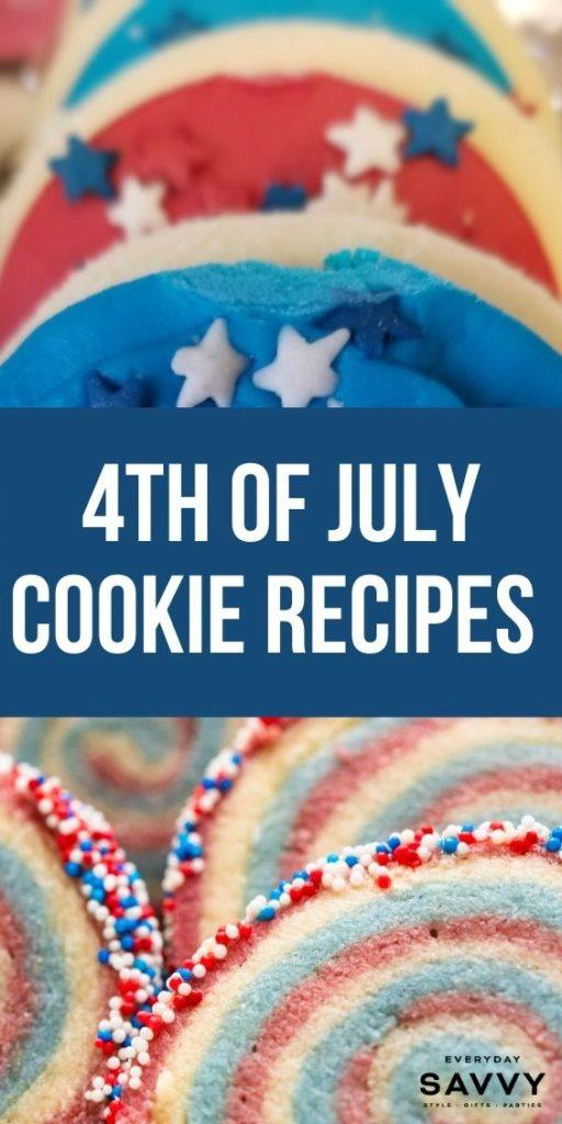 4th of July Cookie Recipes - red white and blue cookies with stars