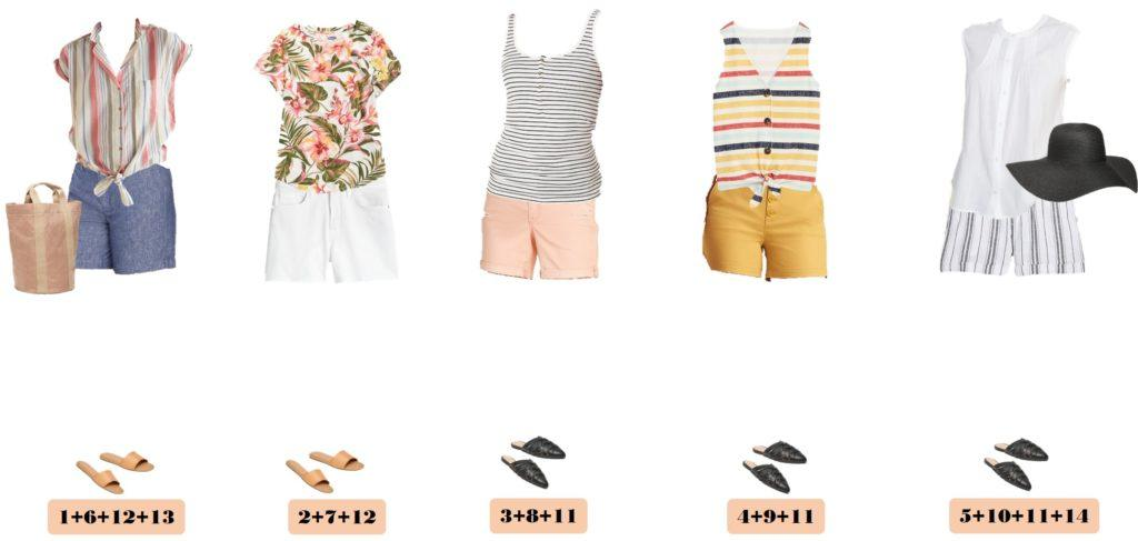 chambray shorts with striped top, floral tops, striped tops and striped shorts