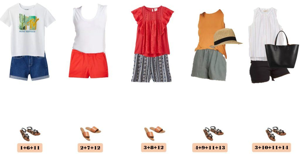 summer outfits with shorts and tops