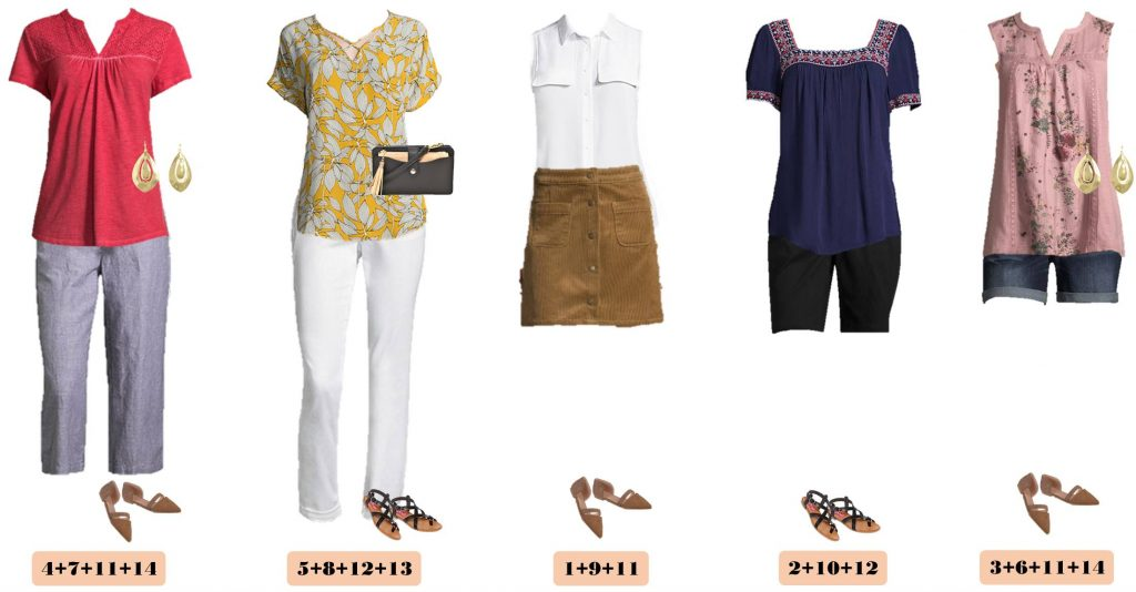 5 cute summer outfits - embroidered tops, floral tops and shorts