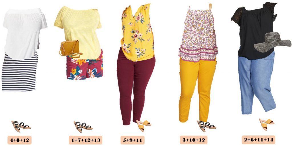 Plus Size Cute Summer Outfits from Old Navy - Striped skirt and floral tops