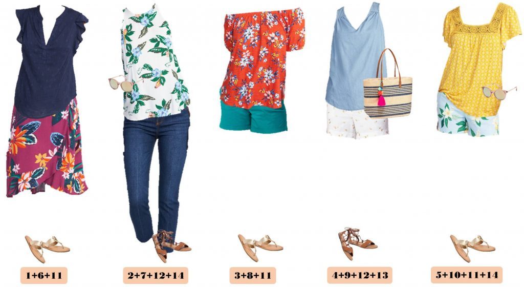 Old Navy summer outfits, floral skirt, floral tops, shorts