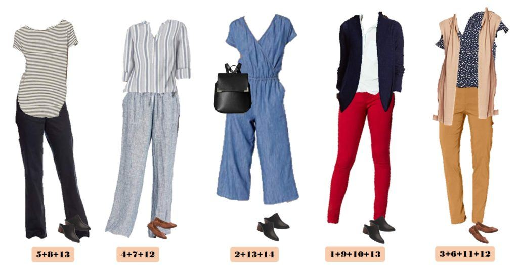 red pants, jumpsuit, striped tops and more stylish teacher outfits or business casual
