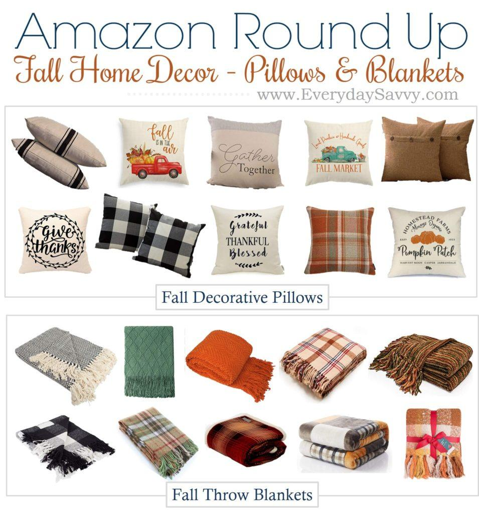 fall throw blankets and fall pillow covers and easy fall decorating ideas