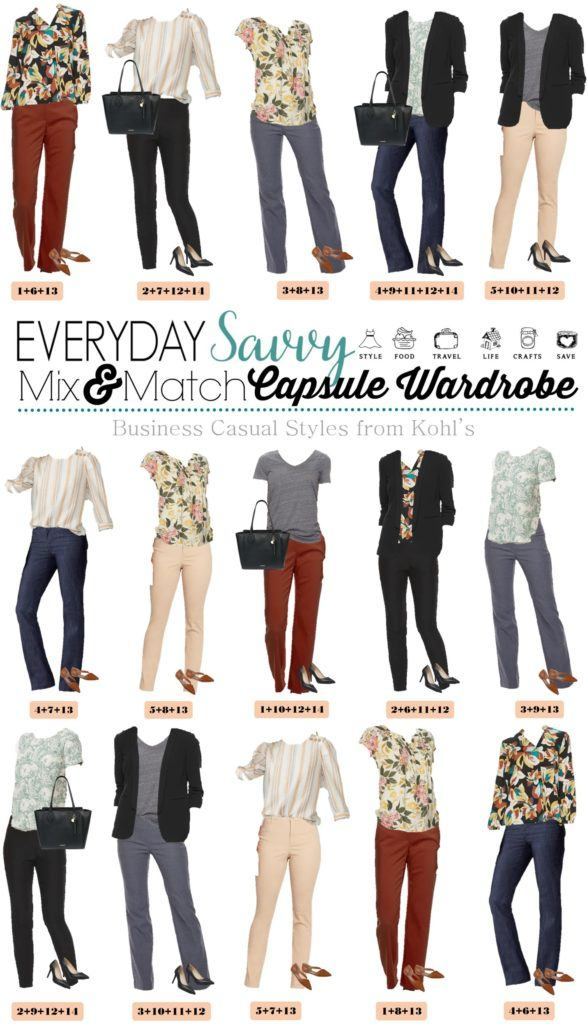 15 mix and match fall outfits for women including jeans, rust colored pants, khaki and grey pants. Striped top, floral top, patterned tops and black cardigan