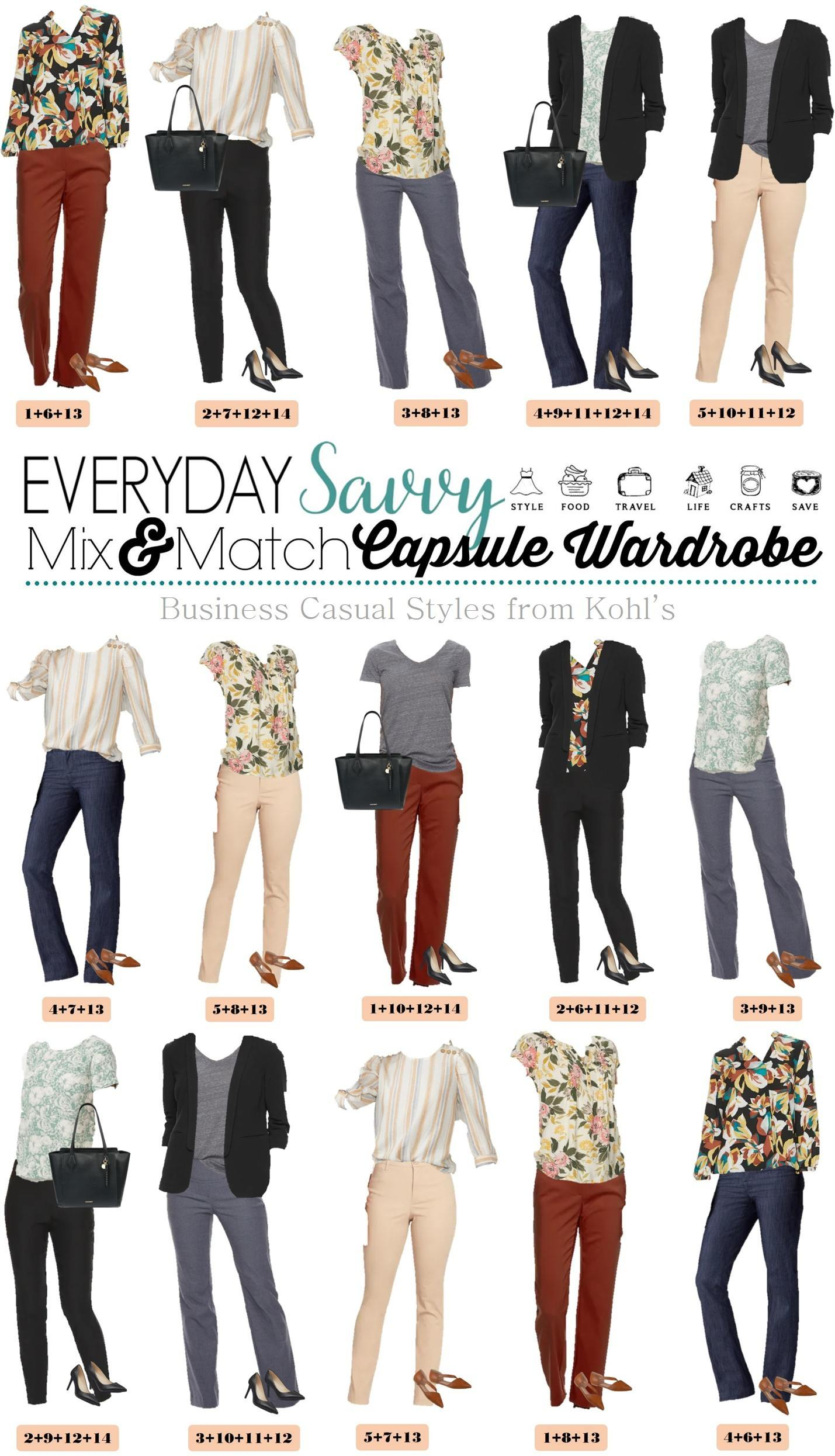Business Casual Attire for women - capsule wardrobe of 15 mix and match outfits