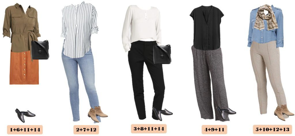 5 mix and match fall outfits - skirt, jeans. black pants, belted top, striped top