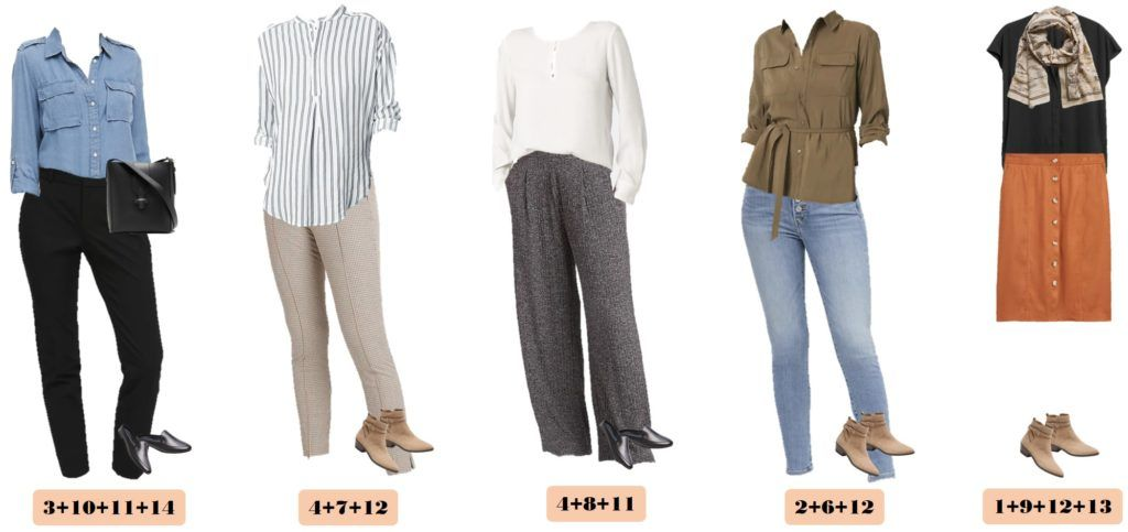 5 fall outfits  that mix and match - plaid pants, sweater pants. black pants, belted top, striped top, cute scarf