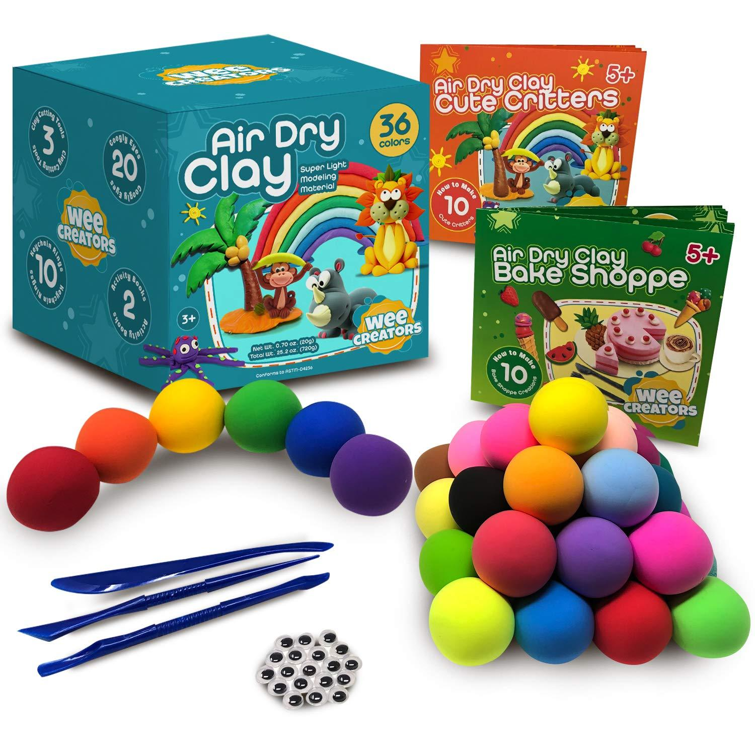 balls of air dry clay and air dry clay art sets