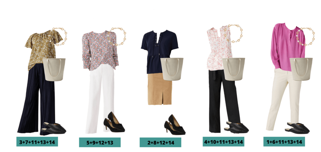 Spring Business Casual Capsule Wardrobe Outfit ideas - 5 mix and match ideas