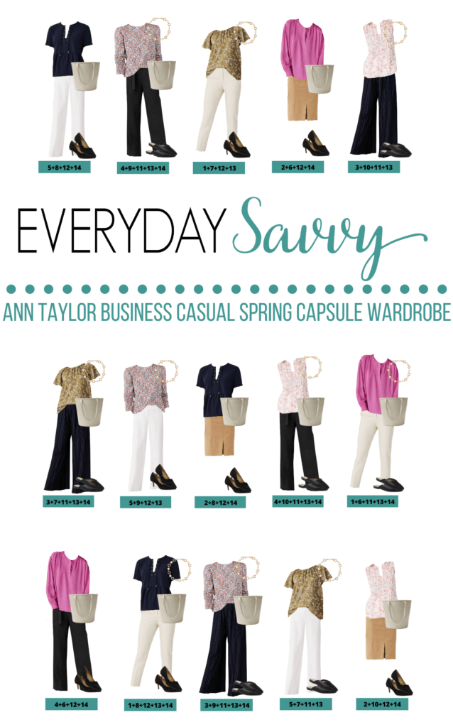 Spring Business Casual Capsule Wardrobe Outfit ideas - 15 mix and match ideas