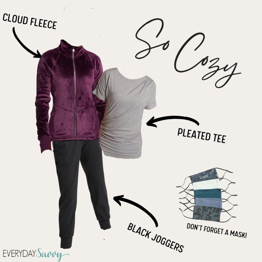 cute athleisure outfit for women - purple fleece jacket, pleated tee and black joggers plus facemasks