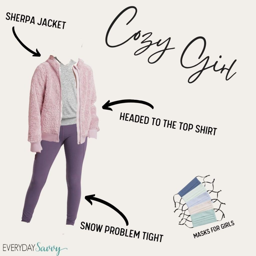 cute athleisure outfit for girls - purple leggings, grey top and pink sherpa jacket plus facemasks