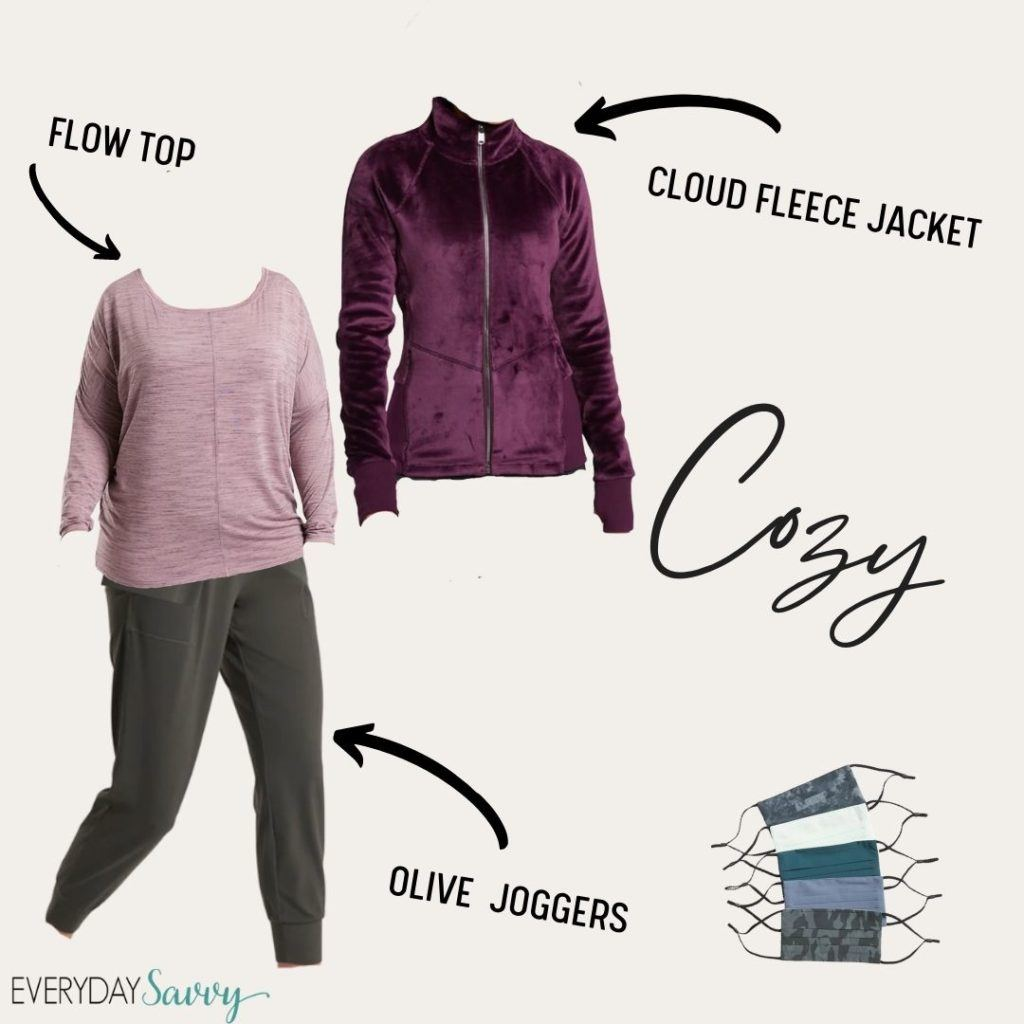 cute athleisure outfit for women - purple fleece jacket, flow top and olive green joggers plus facemasks