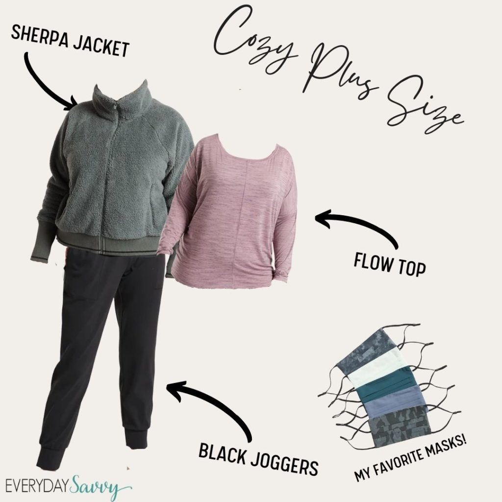 cute plus size athleisure outfit for women - green sherpa jacket, pink flow top and black joggers plus facemasks