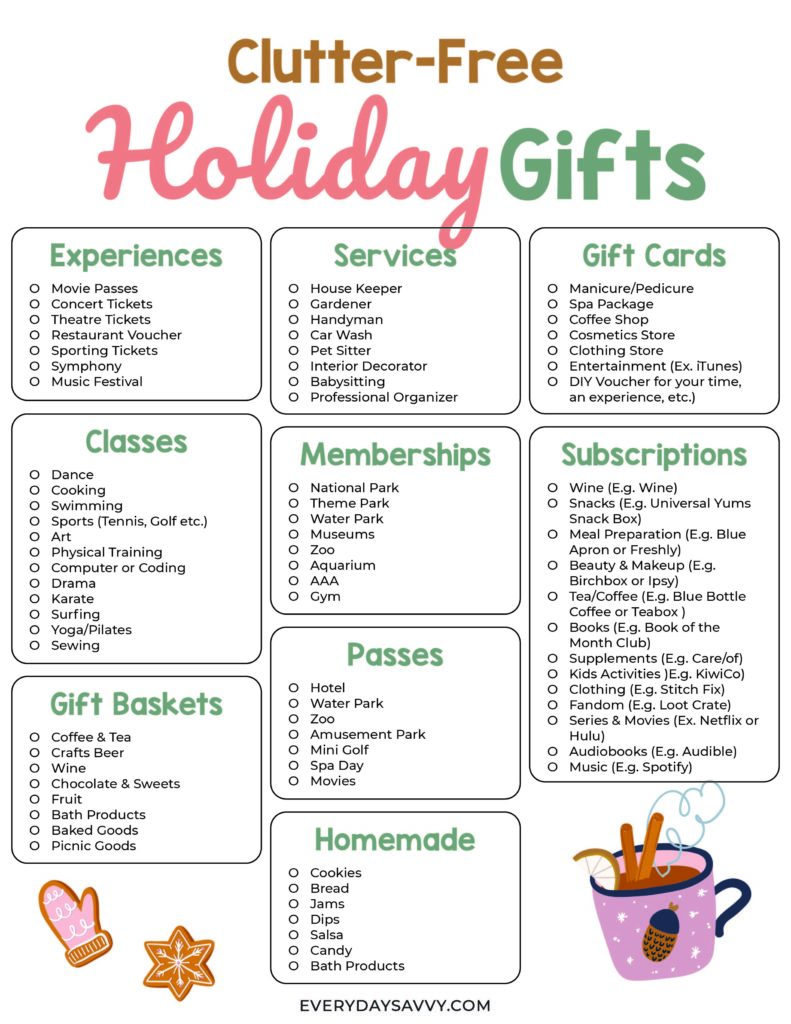 Huge list of Clutter free gift ideas