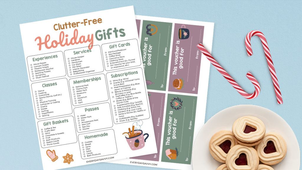 Clutter Free Holiday Gift ideas - gift voucher printable and cookies on plate