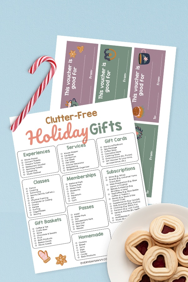 Clutter Free Gift Ideas printable pages