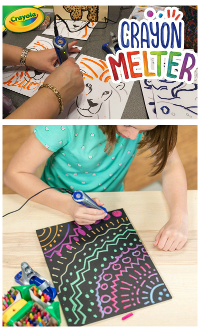 crayon melter and child using crayon melter
