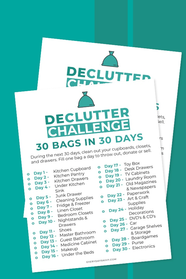30 day decluttering challenge printable list