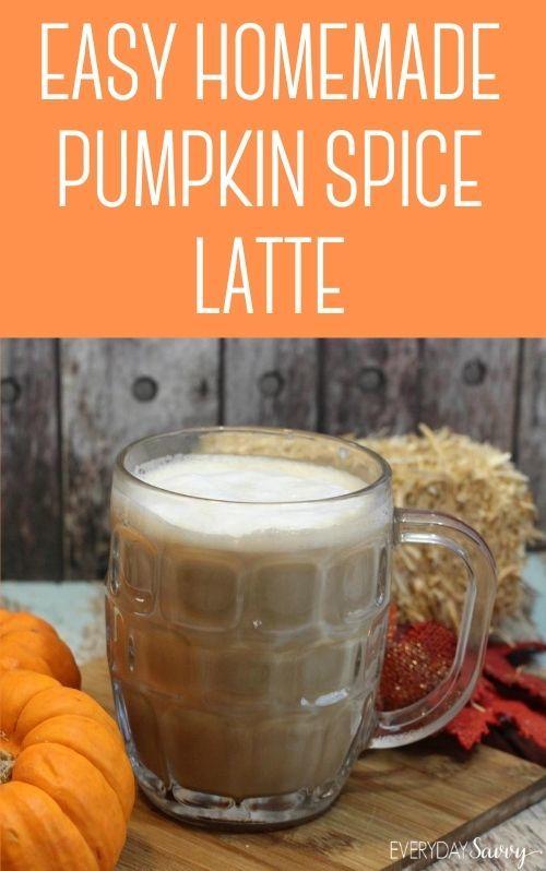 easy homemade pumpkin spice latte in glass mug