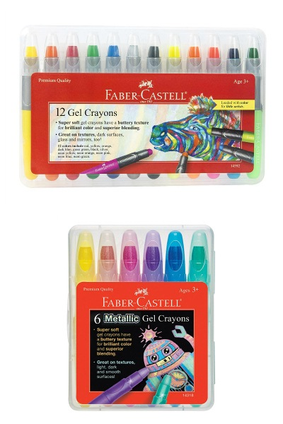 Faber-Castell Gel Crayons - 12 Vibrant Colors In Durable Storage Case & 6 Metallic Gel Crayons