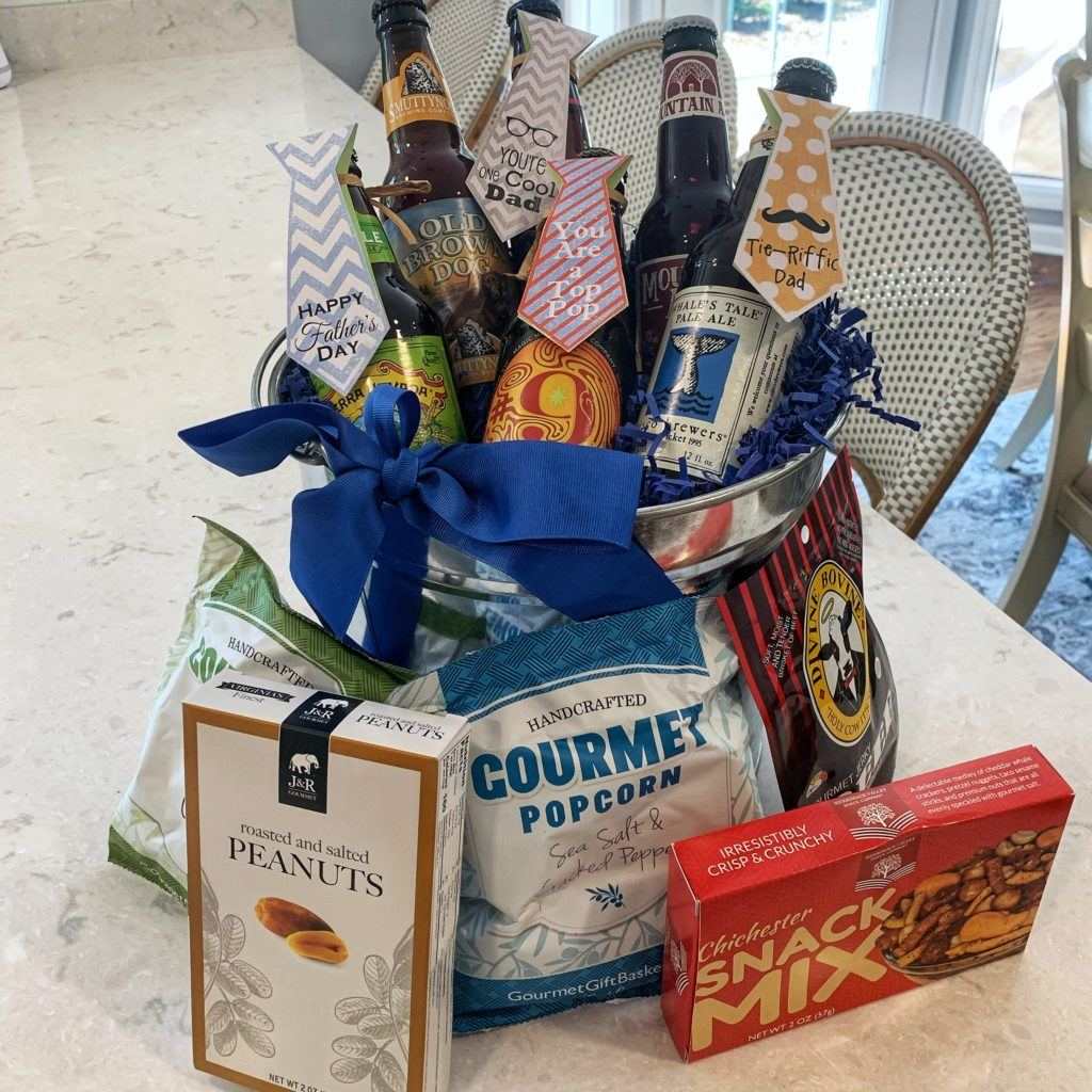 Father's Day Beer Baskets - beers in bucket with snacks