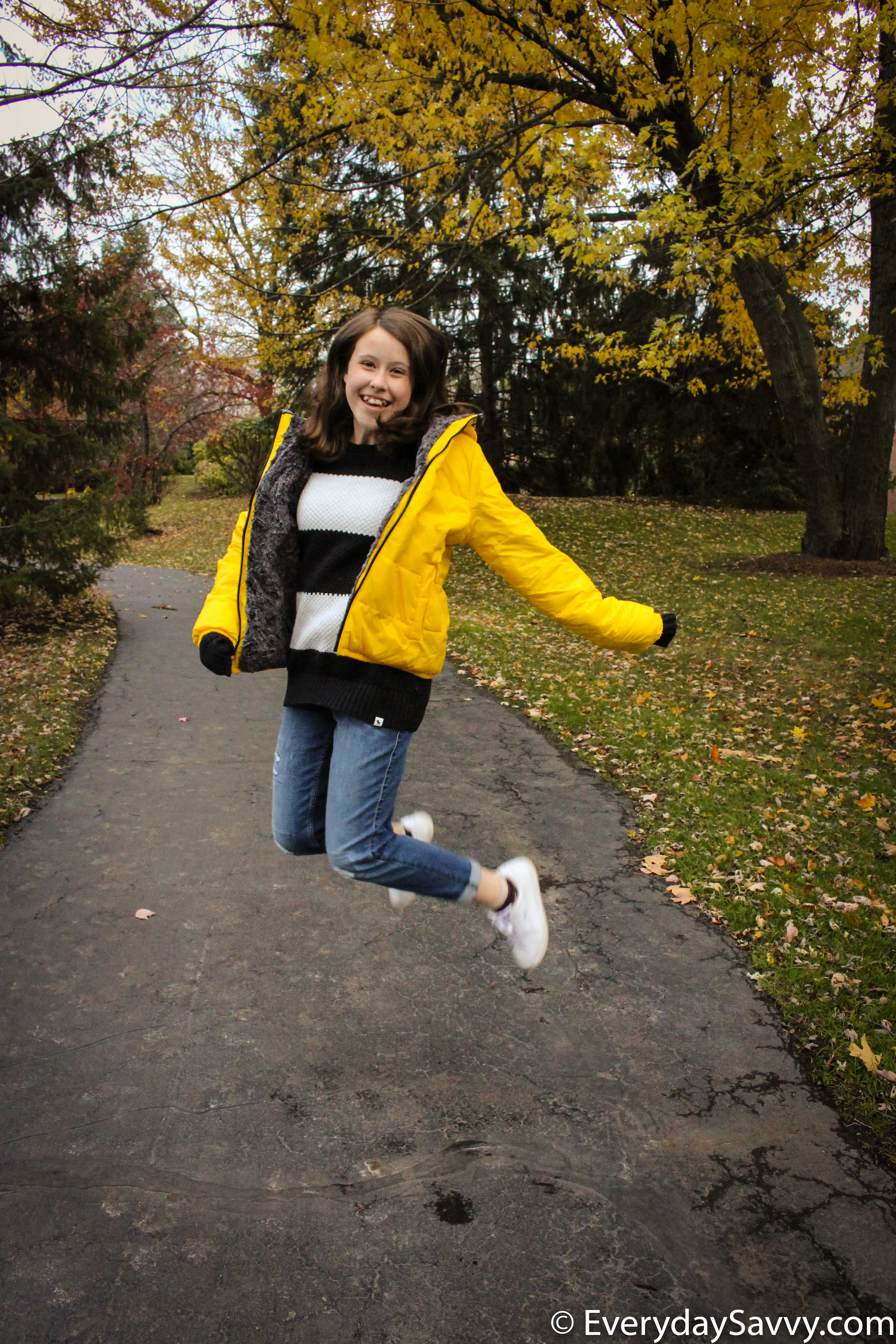 cute yellow coat for tween and striped cozy sweater