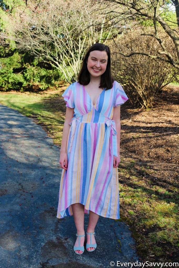 pastel striped midi spring dress
