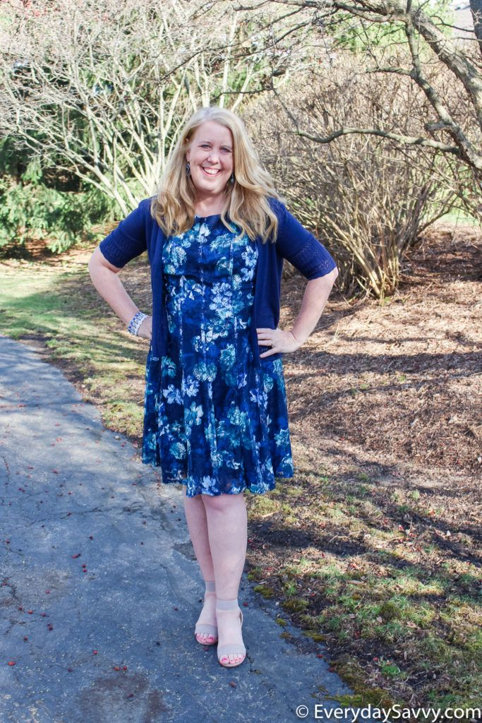 blue flare and fit floral lace spring dress with navy blue shrug