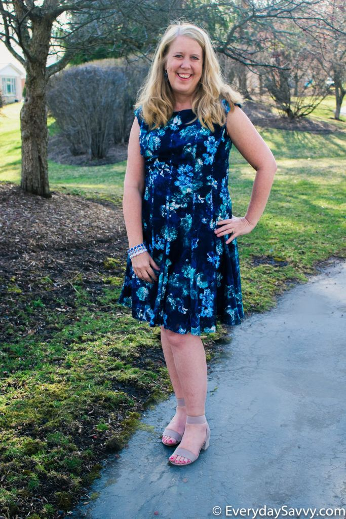 blue floral lace spring dress flare and fit