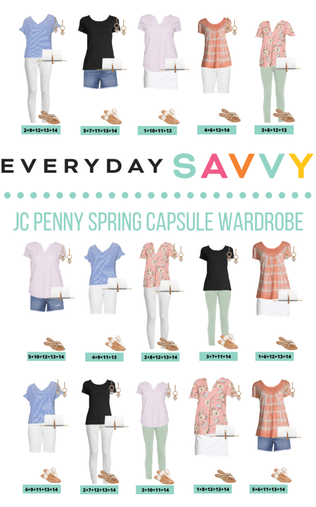 JCPenney Spring Clothes Capsule Wardrobe - 15 Mix and Match Spring Outfit