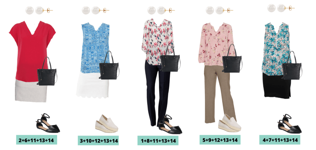 business casual summer outfits - 5 outfits that mix and match for a summer capsule wardrobe