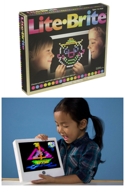 lite-brite and girl plating with lite brite