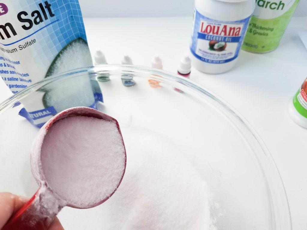 mix bath bomb dry ingredients