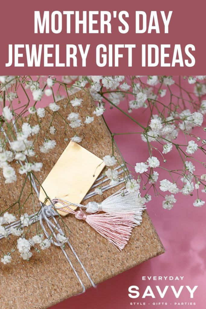 Mothers Day Jewelry Gifts - present with flowers