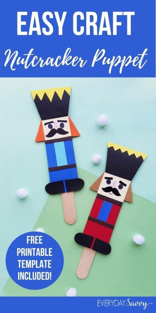 easy nutcracker craft puppet - one red nutcracker and one blue nutcracker