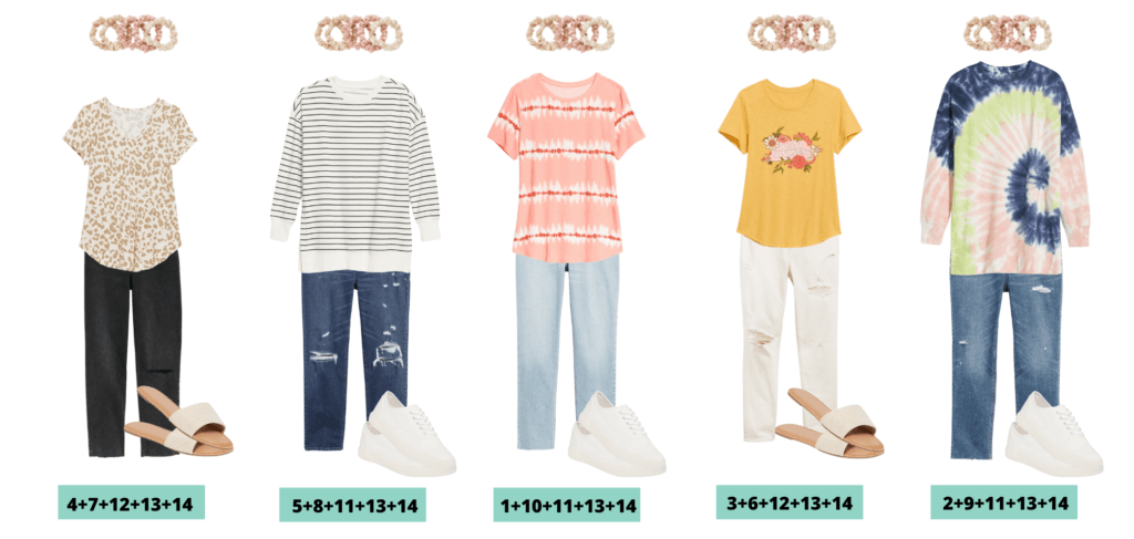 Teenage Girl School Clothes / Tween Outfits for school  - 5 mix and match outfits capsule wardrobe for teens or tweens