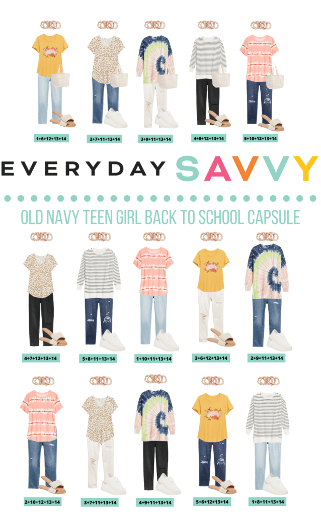 Teenage Girl School Clothes - 15 mix and match outfits capsule wardrobe for teens or tweens