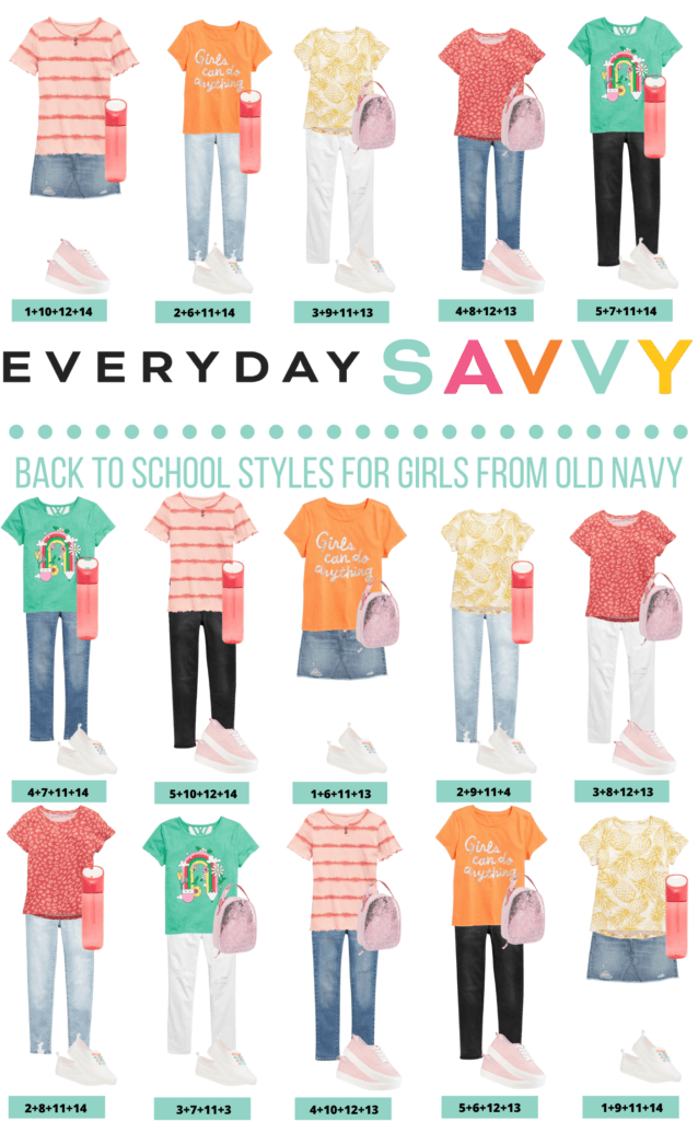 girls back to school clothes - 15 outfits that mix and match