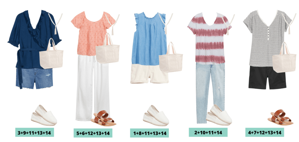 Casual Summer Capsule Wardrobe - 5 mix and match outfits perfect for summer.