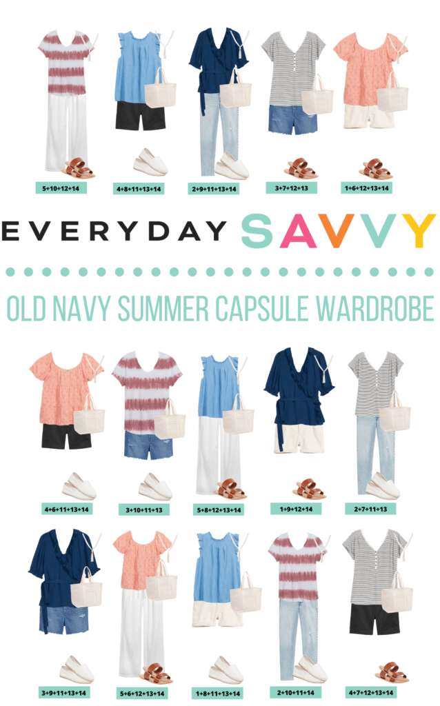 Casual Summer Capsule Wardrobe - 15 mix and match outfits perfect for summer.