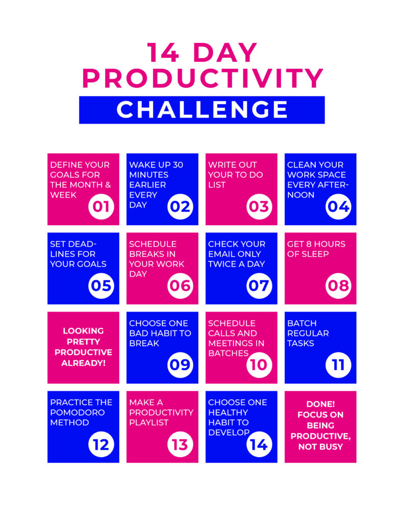 14 day productivity challenge printable sheet