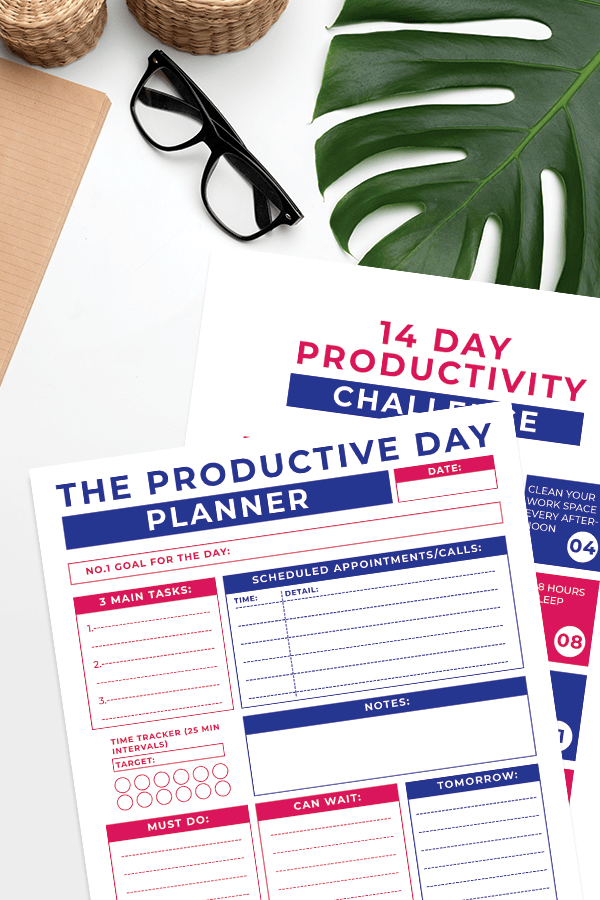 Productive Daily Planner Sheet and 14 day productivity challenge