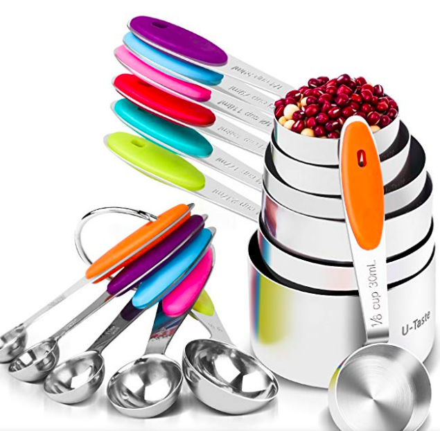 metal measuring cups and spoons